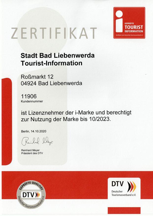 Zertifikat i-Marke Tourist Information